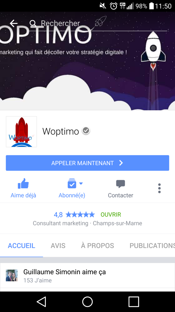 Optimisation page facebook et google mobile for Se geolocaliser